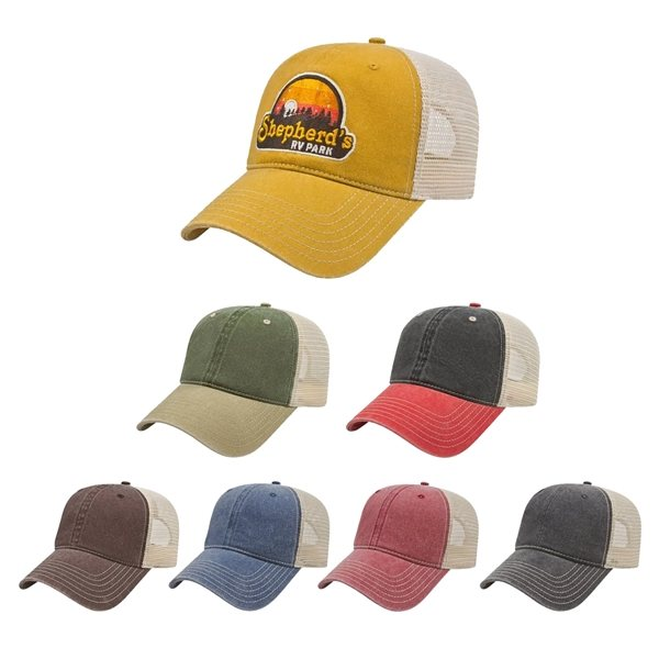 Promotional Washed Pigment Dyed with Washed Mesh Cap