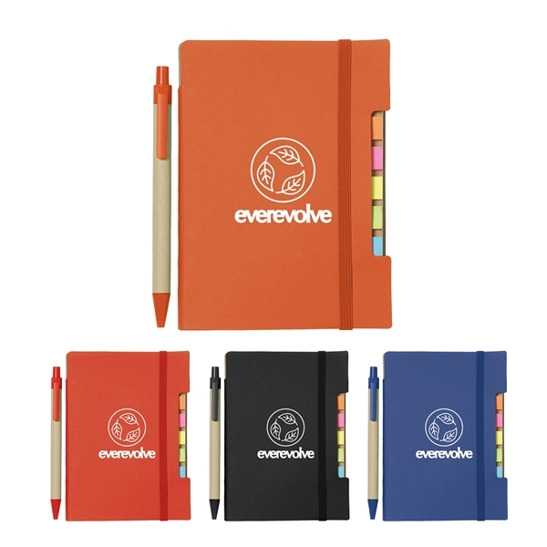 Promotional 4 x 6 Recycled Sticky Notebook with Pen