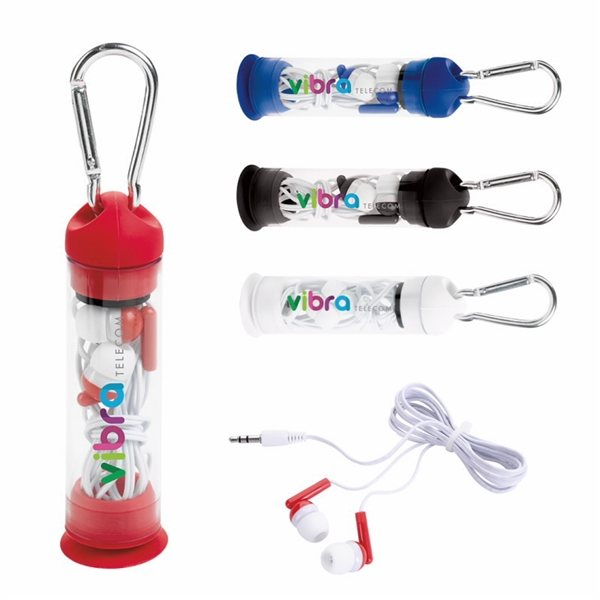 Promotional Earbuds in Phone Stand Case with Carabiner
