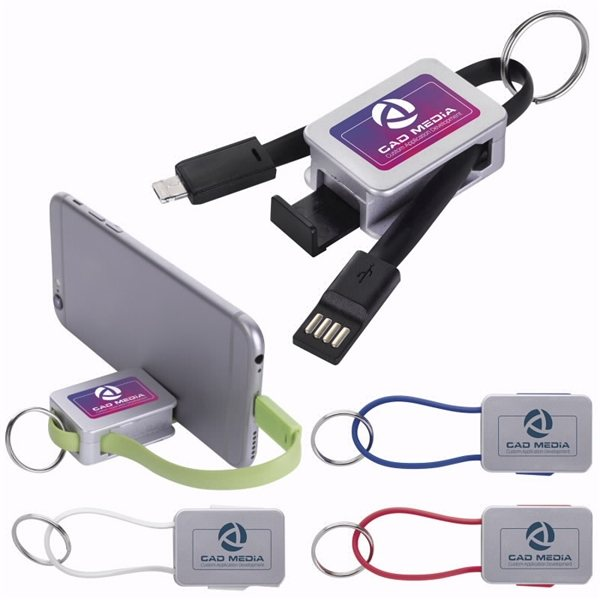 Promotional Dual Charging Cable with Phone Stand