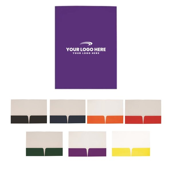 Promotional 9w x 12h Gloss Paper Folder with Card Slot
