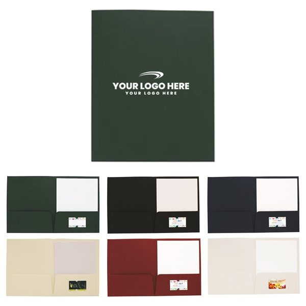 Promotional 9-5/8w x 11-3/4h Linen Paper Folder with Card Slot
