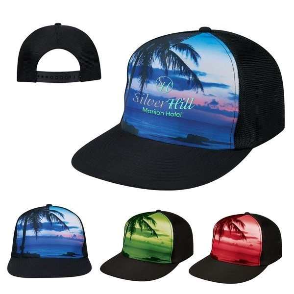 Promotional Tropical Flat Bill Cap