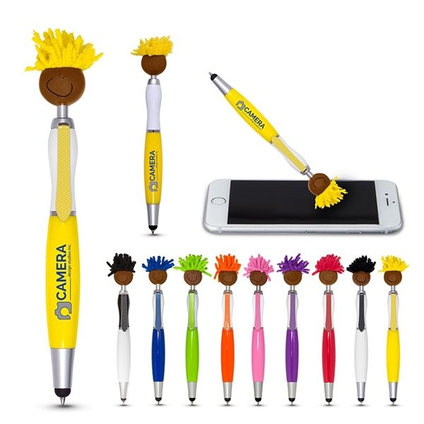 Promotional Multi - Culture Moptopper(TM) Screen Cleaner With Stylus Pen (Brown Skin Color)