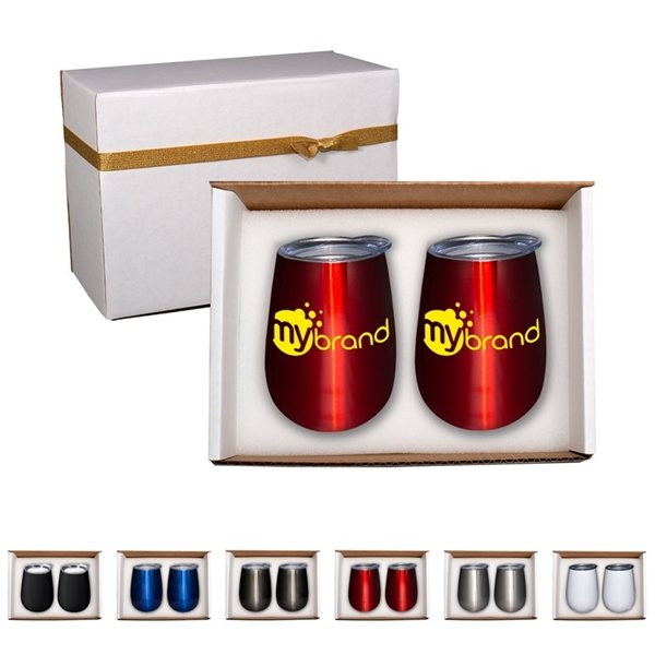 Promotional Duo Vacuum Stemless Wine Tumbler Gift Set