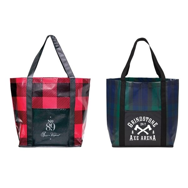 Promotional Buffalo Plaid Laminated Shopper Tote