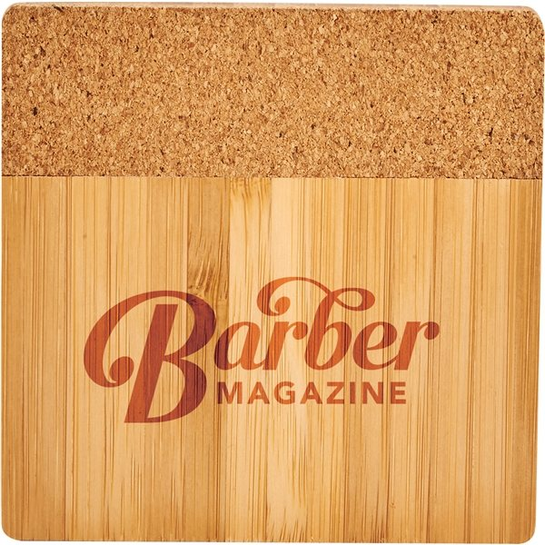 Promotional Bamboo and Cork Coaster Four Piece Set