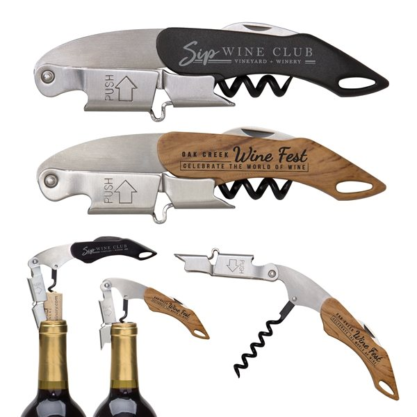Promotional Double Hinged Wine Key Corkscrew