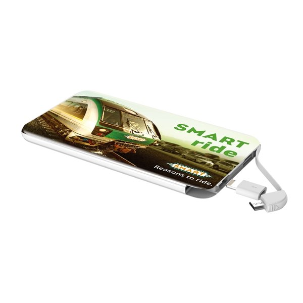 Promotional Uptown High Capacity Slim Power Bank with Built In Cables