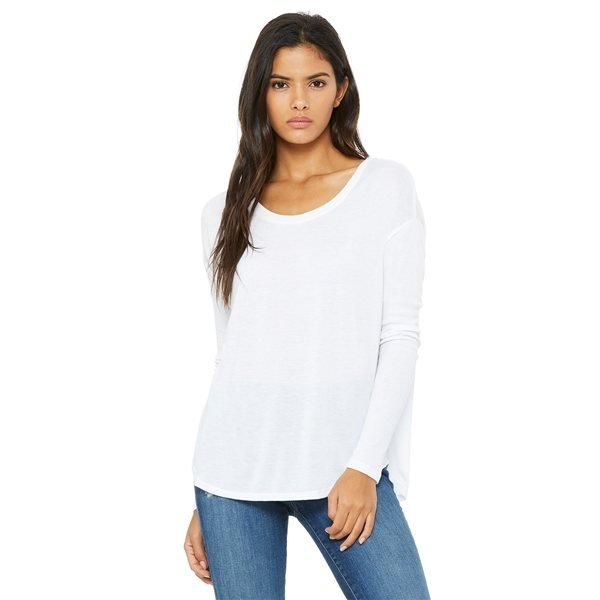 14339adf ... Promotional Bella + Canvas Ladies Flowy Long - Sleeve T - Shirt with 2x1  Sleeves -