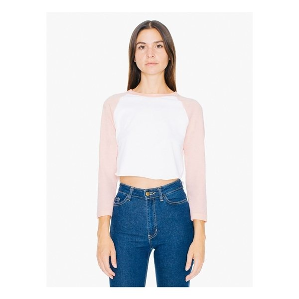 Promotional American Apparel Ladies Poly - Cotton 3/4- Sleeve Cropped T - Shirt