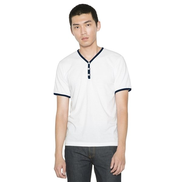 Promotional American Apparel Unisex Poly - Cotton V - Neck Henley