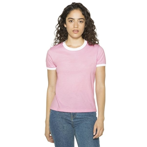 Promotional American Apparel Ladies Poly - Cotton Ringer T - Shirt