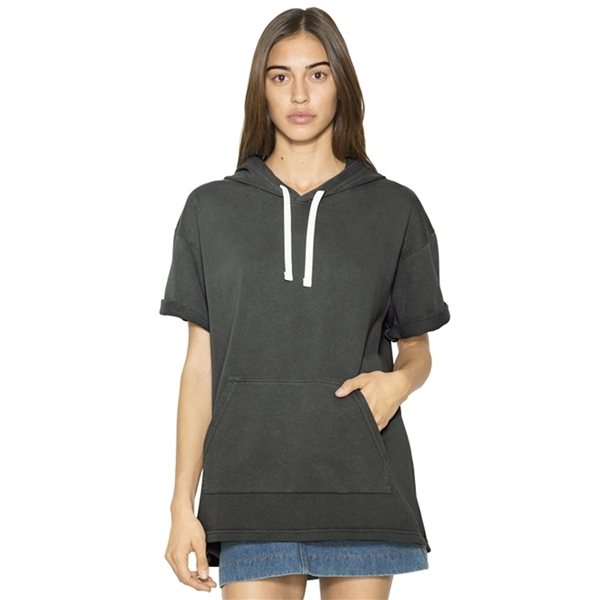 Promotional American Apparel Unisex French Terry Garment - Dyed Kangaroo Pocket Short - Sleeve Hooded Sweatshirt