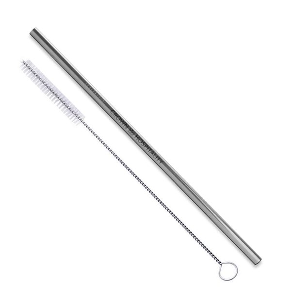 Promotional Silver Stainless Steel Straw Qty 1 Straw
