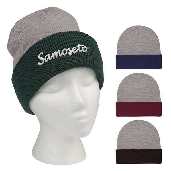 Promotional Two - Tone Knit Beanie With Cuff
