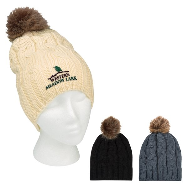 Promotional Cameron Cable Knit Pom Beanie