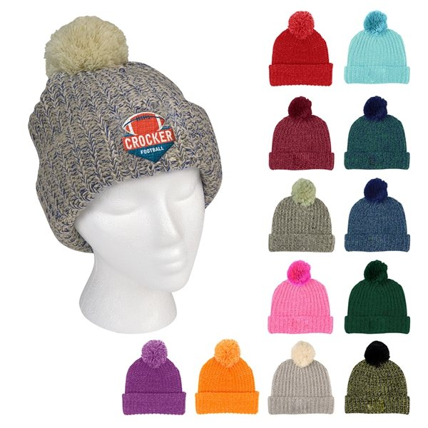 Promotional Grace Collection Pom Beanie With Cuff