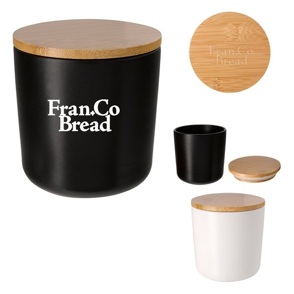 Promotional 17 oz Ceramic Container With Bamboo Lid