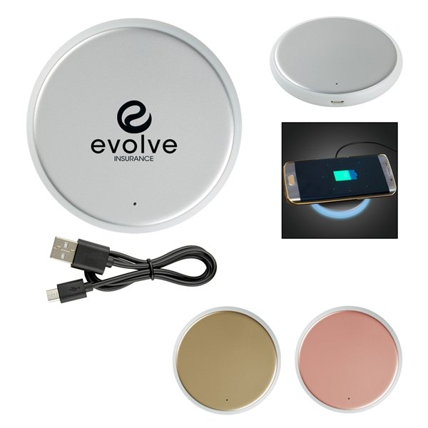 Promotional Silverback Round Wireless Charging Pad