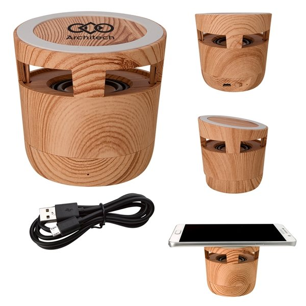 Promotional Woodgrain Wireless Charging Pad And Speaker