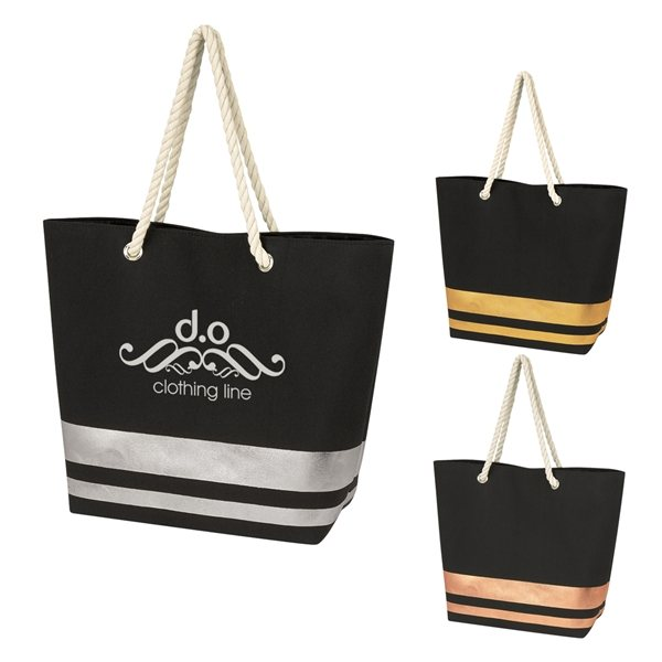 Promotional Metallic Accent Rope Tote Bag