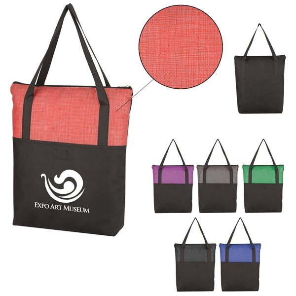 Promotional Crosshatch Non - Woven Zippered Tote Bag