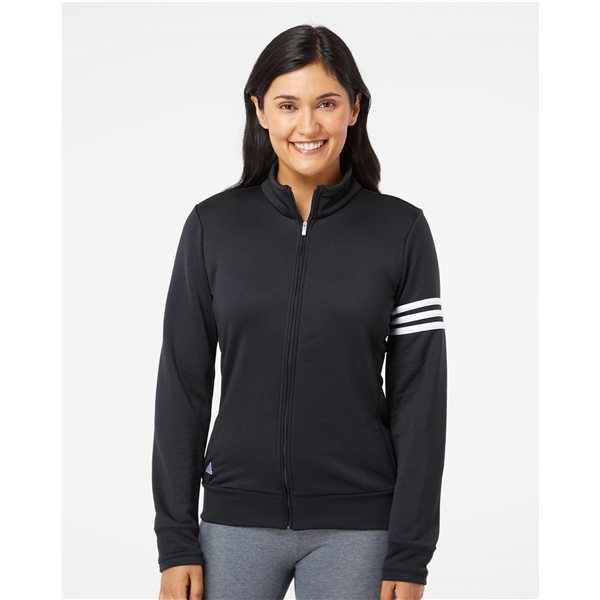 Promotional Adidas - Womens ClimaLite 3- Stripes French Terry Full - Zip Jacket