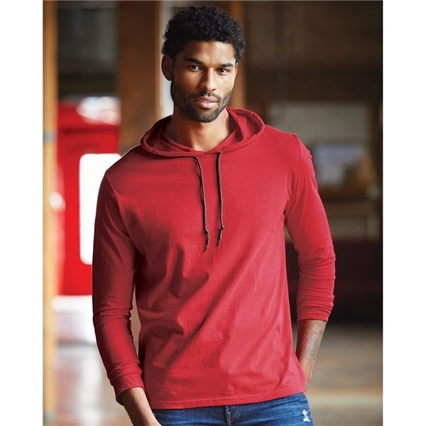 Promotional Anvil - Lightweight Long Sleeve Hooded T - Shirt