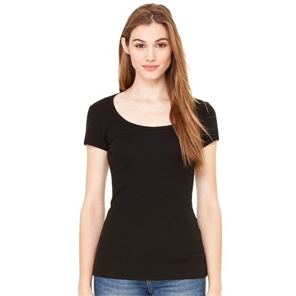 Promotional Bella + Canvas - Womens Short Sleeve Sheer Mini Rib Scoopneck Tee - 8703
