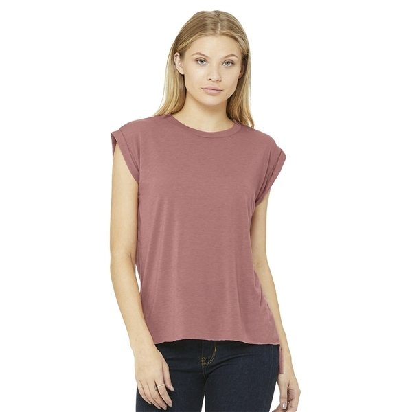 Promotional Bella + Canvas - Womens Flowy Muscle Tee with Rolled Cuffs - 8804