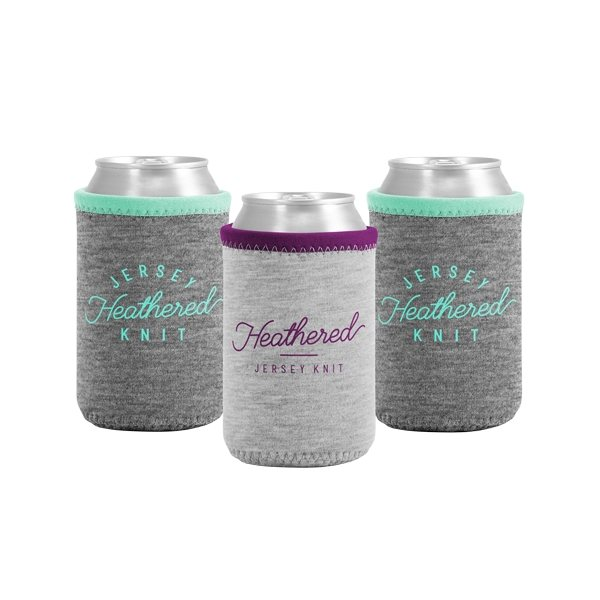 Promotional Liam Heathered Jersey Knit Neoprene Can Insulator