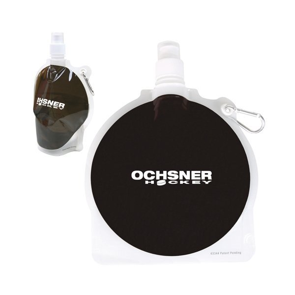 Promotional HydroPouch(TM) 24 oz Hockey Puck Collapsible Water Bottle - Patented