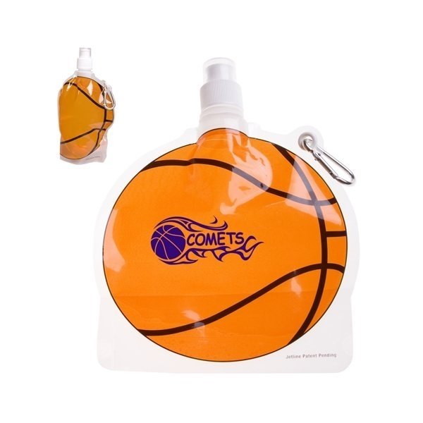 Promotional HydroPouch(TM) 24 oz Basketball Collapsible Water Bottle - Patented