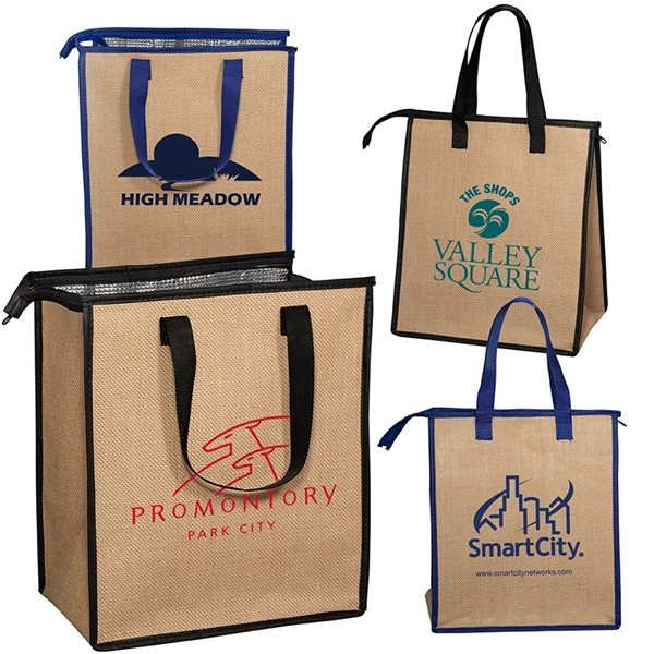 Promotional Insulated Jute Cooler Tote 12w x 13.75h x 8d