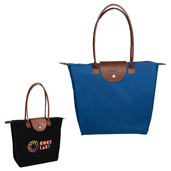 Promotional Folding Tote with Leather Flap Closure