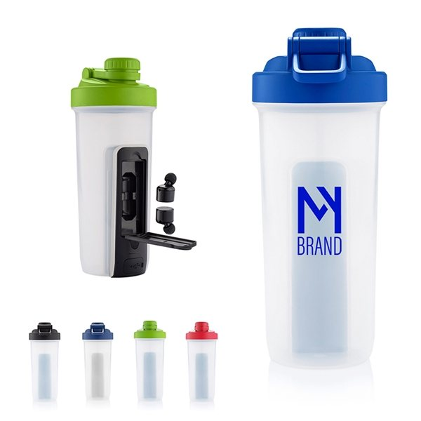 Promotional 20 oz Shaker Fitness Bottle with Bluetooth(R) Earbuds