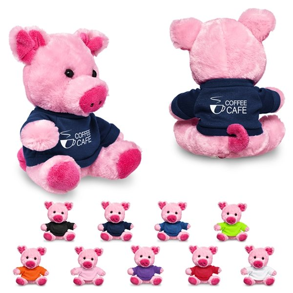 Promotional 7 Plush Pig with T - Shirt