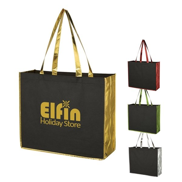 Promotional Metallic Accent Non - Woven Tote Bag