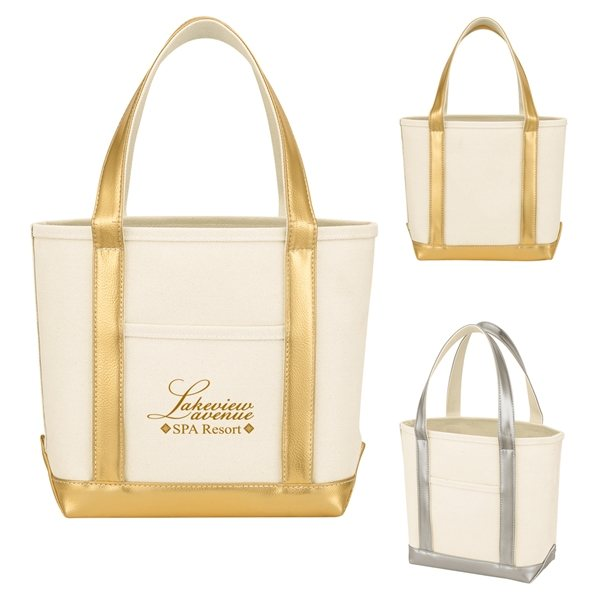Promotional Metallic Accent Heavy Cotton Canvas Boat Tote Bag