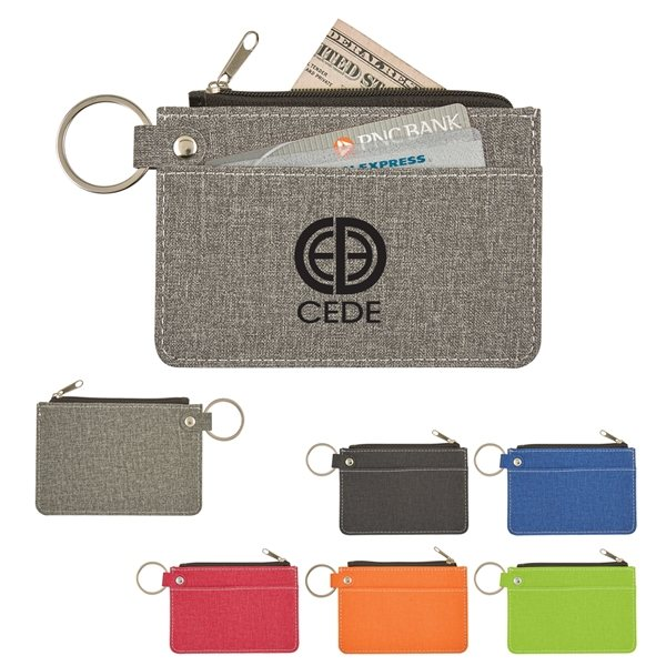 Promotional Heathered Card Wallet With Key Ring