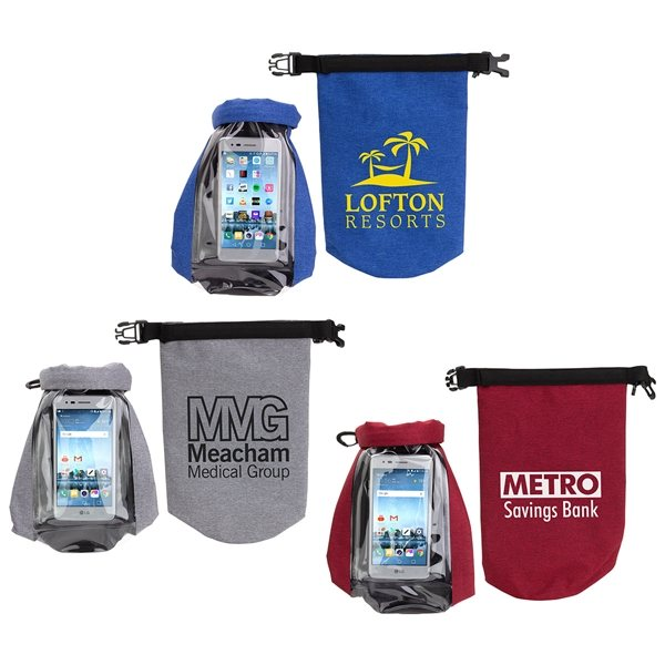 Promotional 2 Liter Waterproof Gear Bag with Touch - Thru Phone Pocket