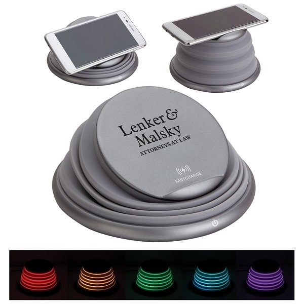 Promotional Sonic 10W Collapsible Wireless Charger with Ambient Lamp