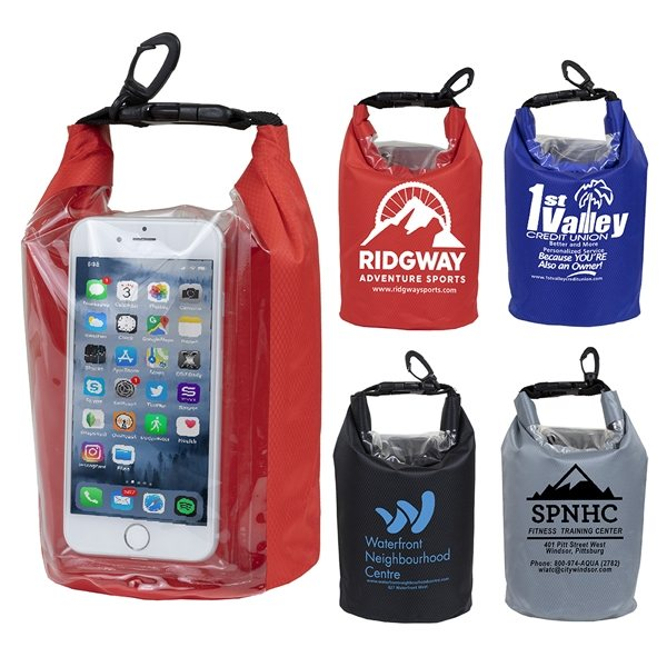 Promotional The Navagio 2.5 Liter Water Resistant Dry Bag With Clear Pocket Window