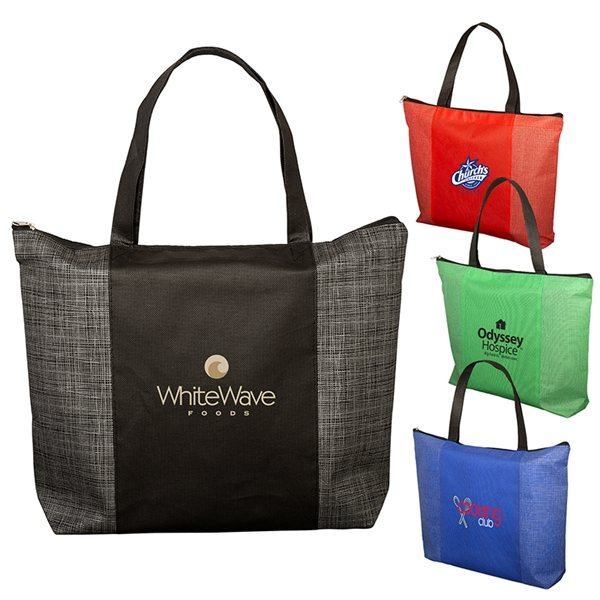 Promotional Tonal Non - Woven Zipper Trade Show Tote Bag
