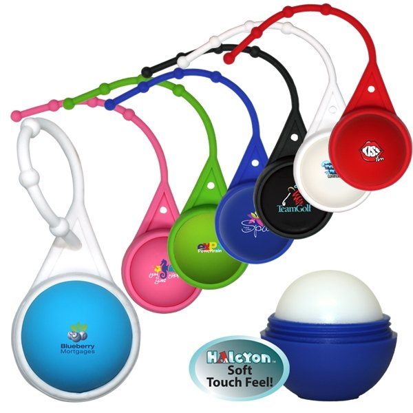 Promotional Halcyon(R) Round Lip Balm with Lanyard, Full Color Digital