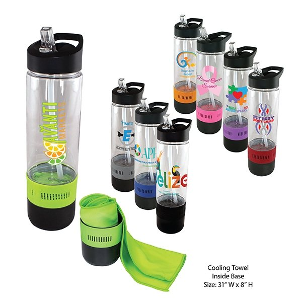 Promotional 17 oz Tritan Bottle with Cooling Towel, Full Color DIgital