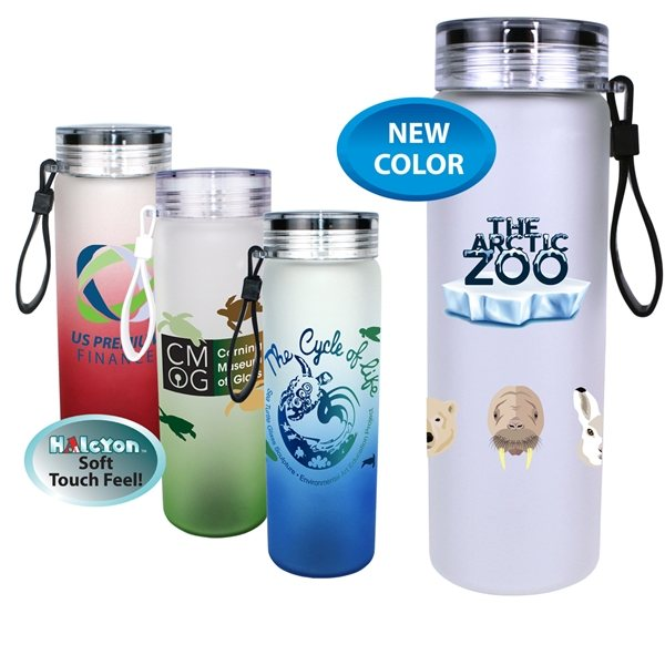 Promotional 20 oz Halcyon Frosted Glass Bottle with Screw on Lid, Full Color Digital