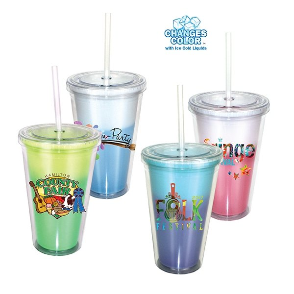 Promotional 16 oz Mood Victory Acrylic Tumbler with Straw Lid, Full Color Digital