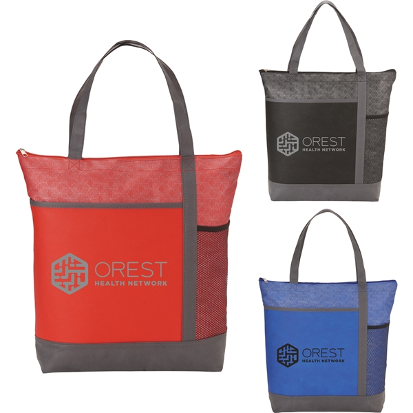 Promotional Chrome Non - Woven Zipper Convention Tote